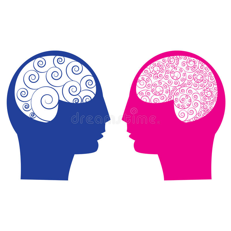 Abstrakter Mann gegen weibliches Gehirn vektor abbildung