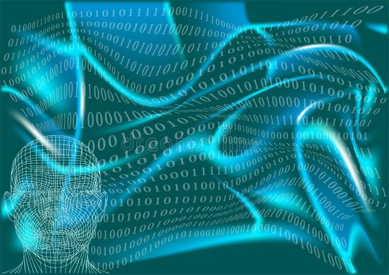 Abstrakter Mann im Cyberspace stockbilder