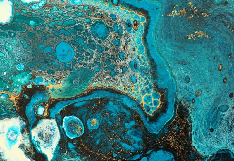 Abstrakter marbleized Effekthintergrund Blaue kreative Farben Sch?ne Farbe mit dem Zusatz des Goldes lizenzfreie stockfotos