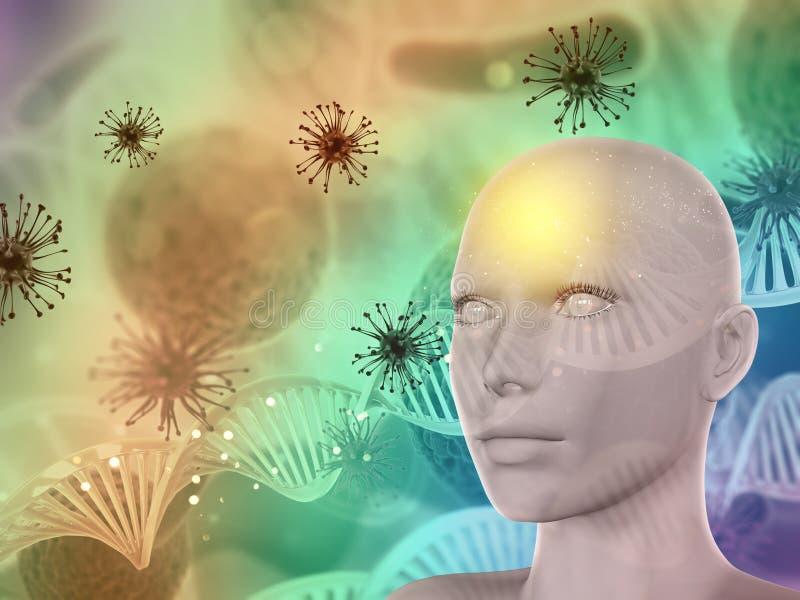 abstrakter medizinischer Hintergrund 3D mit weiblichem Gesicht, Viruszellen und lizenzfreie abbildung