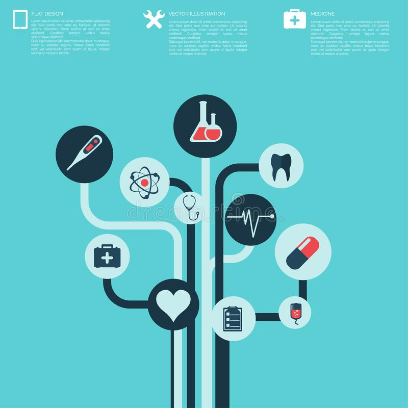 Abstrakter medizinischer Hintergrund mit flachen Netzikonen lizenzfreie abbildung