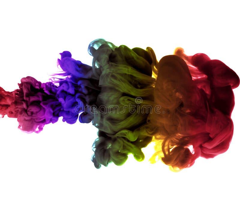 Abstrakter mehrfarbiger Rauch-Effekt auf weißen Hintergrund lizenzfreies stockbild