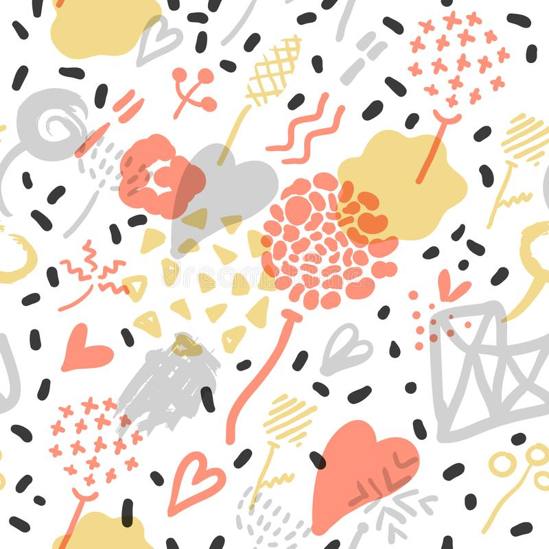 Abstrakter Memphis Seamless Pattern mit romantischen Elementen Hippie-Hand gezeichneter Hintergrund mit Herzen Design der Weinles vektor abbildung