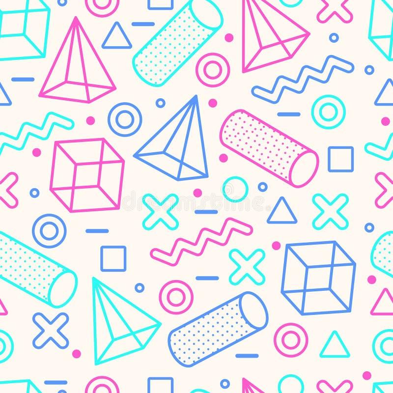 Abstrakter Memphis Style Seamless Pattern mit geometrischen Formen lizenzfreie abbildung