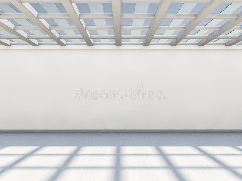 Abstrakter moderner Architekturhintergrund, leerer weißer offener Raum stock abbildung