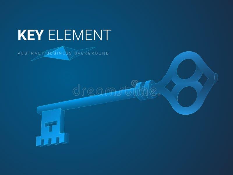 Abstrakter moderner Geschäftshintergrundvektor, der in Form Bedeutung eines Schlüssels auf blauem Hintergrund darstellt stock abbildung