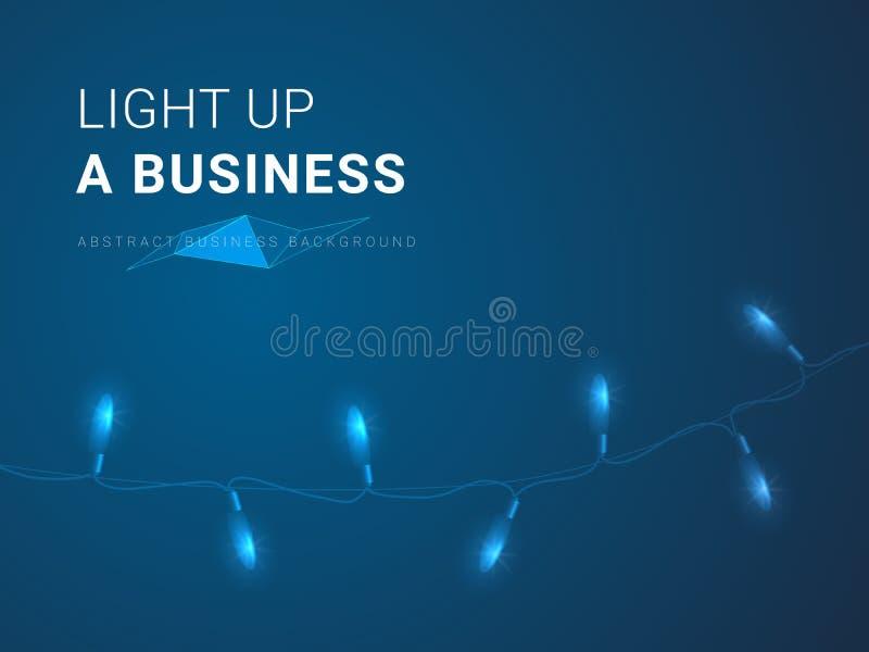 Abstrakter moderner Geschäftshintergrundvektor, der oben Beleuchtung ein Geschäft in Form von Weihnachtslichtern auf blauem Hinte lizenzfreie abbildung