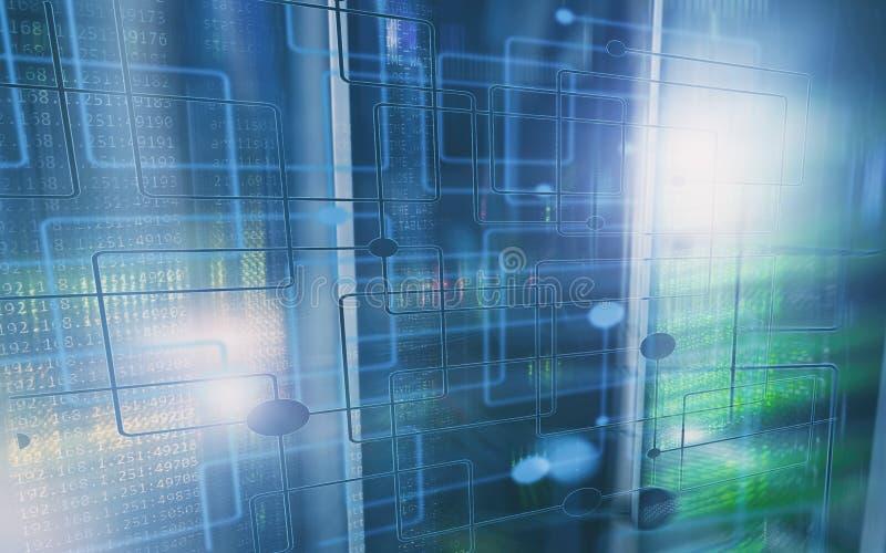 Abstrakter moderner Rechenzentrumraum ElektronenrechenanlageGer?tetechnikkonzept Tapeten-Technologiehintergrund lizenzfreies stockfoto