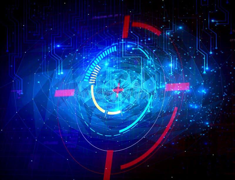 Abstrakter moderner technologischer mehrfarbiger Polygon Hintergrund lizenzfreie abbildung