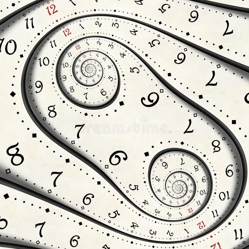 Abstrakter moderner weißer surrealer gewundener Uhr Fractal verdrehte ungewöhnlichen abstrakten Beschaffenheitshintergrund der Uh vektor abbildung