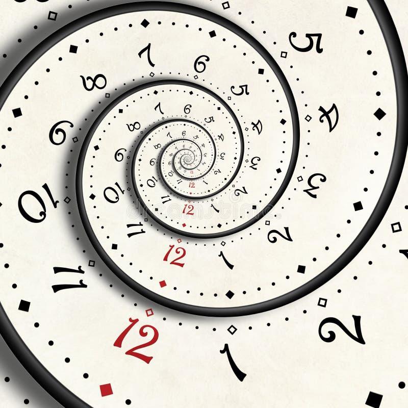 Abstrakter moderner Weißspiralen-Uhr Fractal Verdrehter ungewöhnlicher abstrakter Fractal Beschaffenheit der Uhruhr Surreale Uhr  vektor abbildung