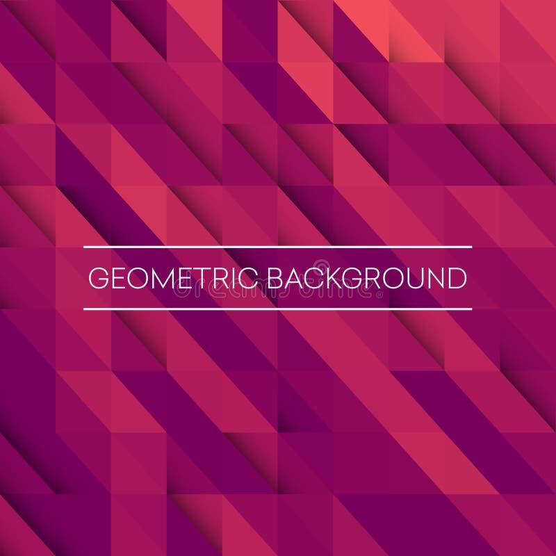 Abstrakter Mosaikhintergrund Geometrischer Hintergrund der rosa, purpurroten, orange Dreiecke vektor abbildung