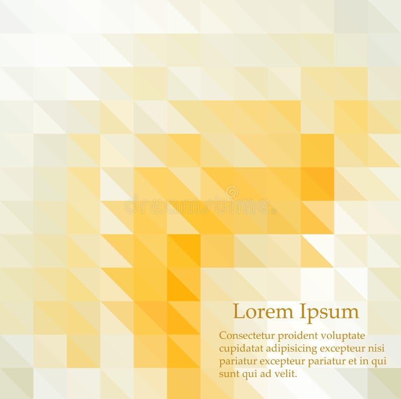 Abstrakter Mosaikhintergrund Geometrischer Hintergrund des Dreiecks Vier Schneeflocken auf wei?em Hintergrund Gelbe, orange colro lizenzfreie abbildung