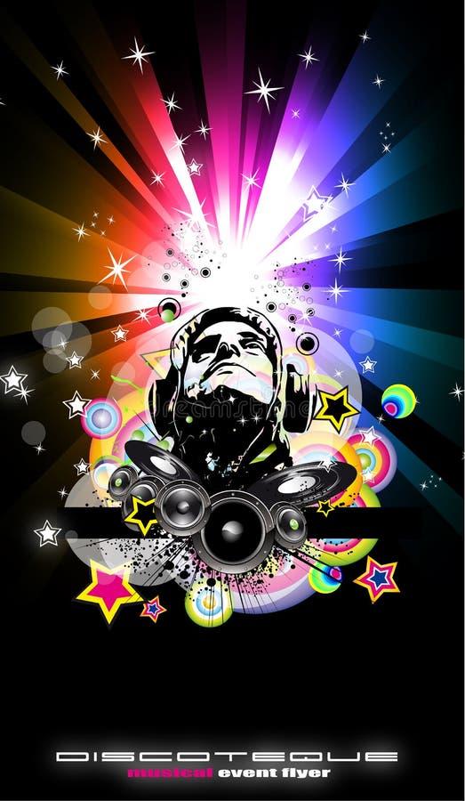 Abstrakter Musik-Disco-Flugblatt-Hintergrund vektor abbildung