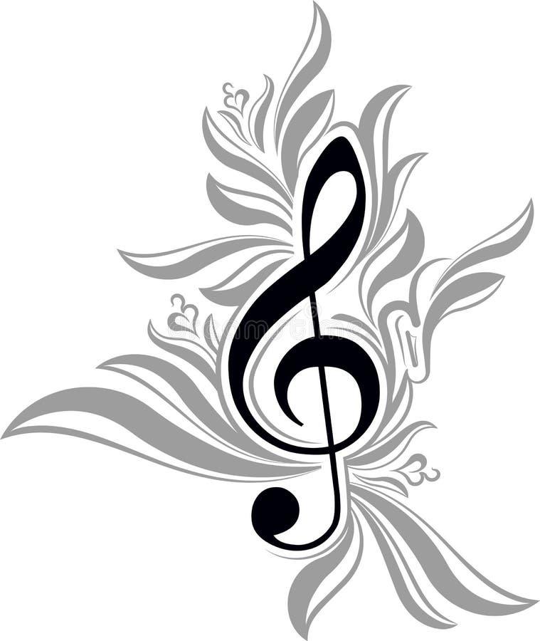 abstrakter musikalischer Hintergrund mit Violinschlüssel lizenzfreie abbildung