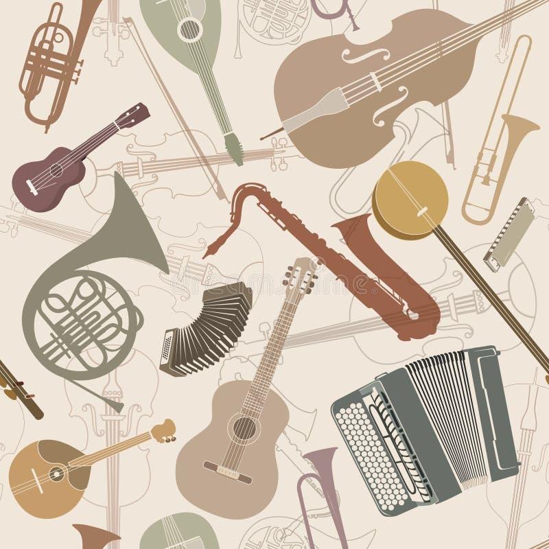 Abstrakter Musikhintergrund Musikinstrumente der nahtlosen Beschaffenheit lizenzfreie abbildung