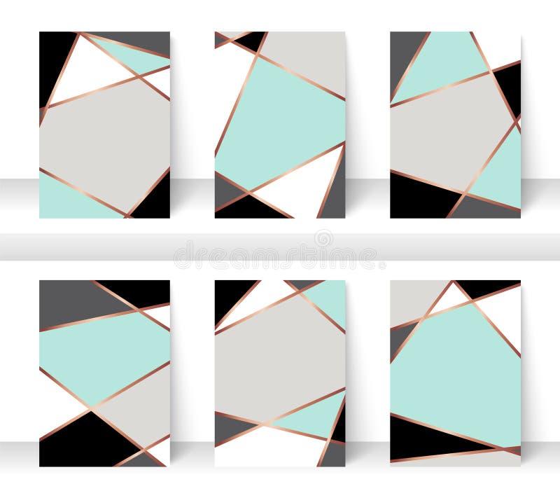 Abstrakter Musterpastellhintergrund mit goldener Linie, denn Geschäftsbroschürenabdeckungsdesign Minze, Weiß, Grau, Schwarzes und vektor abbildung