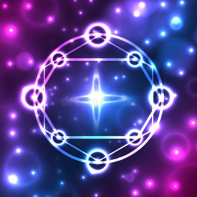 Abstrakter, mystischer, fantastischer, dunkler Hintergrund mit Stern, Muster, Ikone, Ikone geometrischer Pentagram Mit Funkeln un stock abbildung