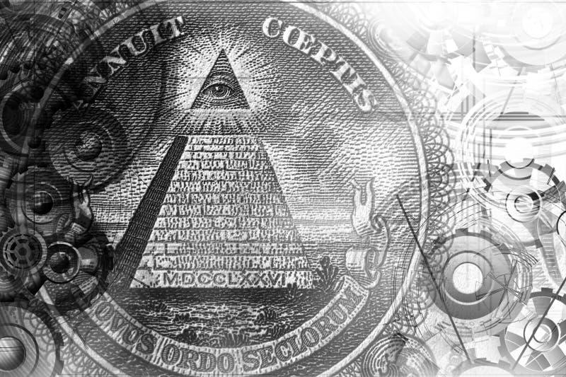 Abstrakter mystischer Hintergrund mit Freimaurersymbolen lizenzfreie abbildung