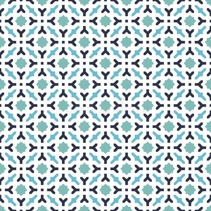 Abstrakter nahtloser dekorativer geometrischer blaue u. grüne Farbmuster-Hintergrund vektor abbildung