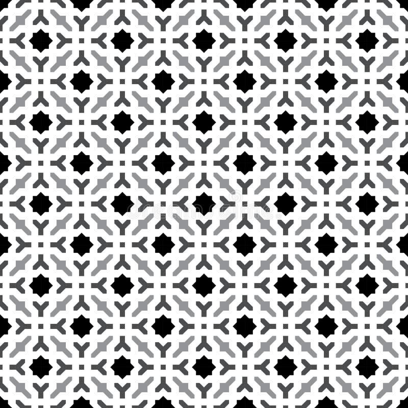 Abstrakter nahtloser dekorativer geometrischer grauer u. weißer Muster-Hintergrund stock abbildung