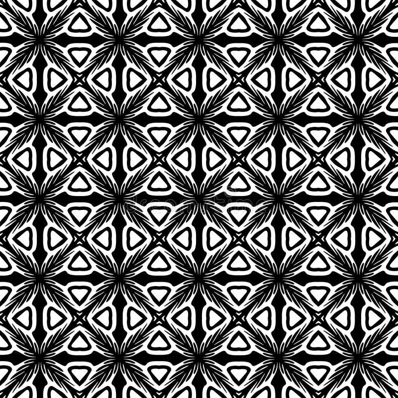Abstrakter nahtloser dekorativer geometrischer heller schwarzer u. weißer Muster-Hintergrund vektor abbildung