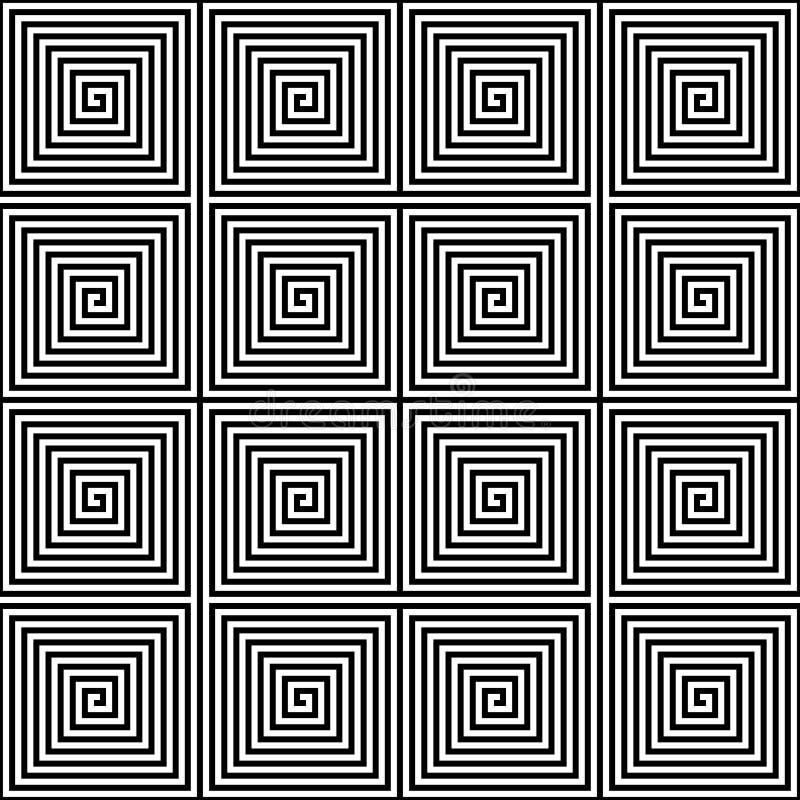 Abstrakter nahtloser geometrischer Musterhintergrund Quadratisches gewundenes Labyrinth in Schwarzweiss Auch im corel abgehobenen lizenzfreie abbildung