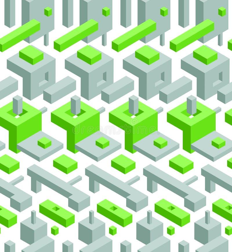 Abstrakter nahtloser High-Techer Hintergrund mit grauem und grünem 3D wendet auf Weiß ein stock abbildung