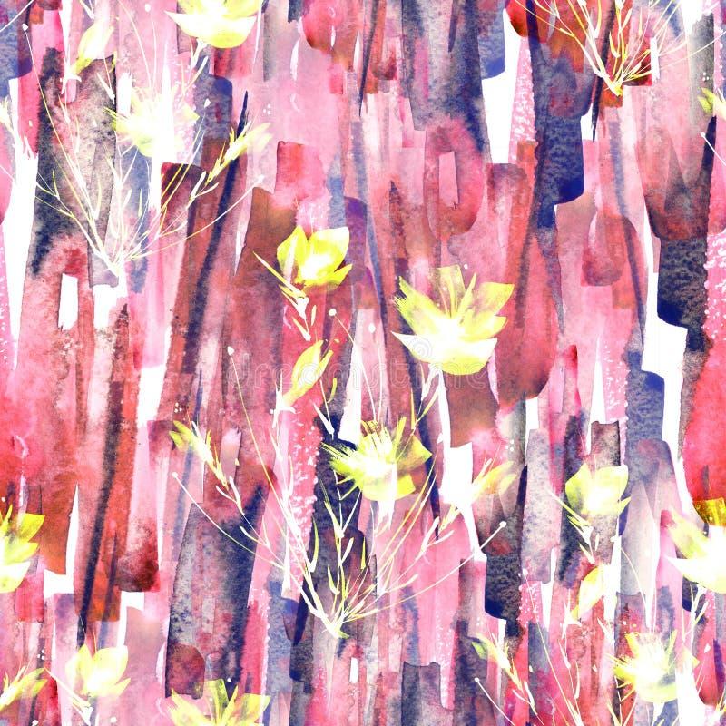 Abstrakter nahtloser Hintergrund des Aquarells Abstrakte Blumenmohnblumenanlage stock abbildung