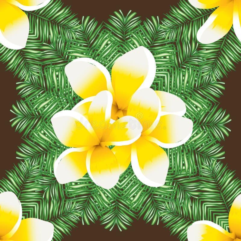 Abstrakter nahtloser Hintergrund mit Palmblättern und Blumen Plumeria stock abbildung