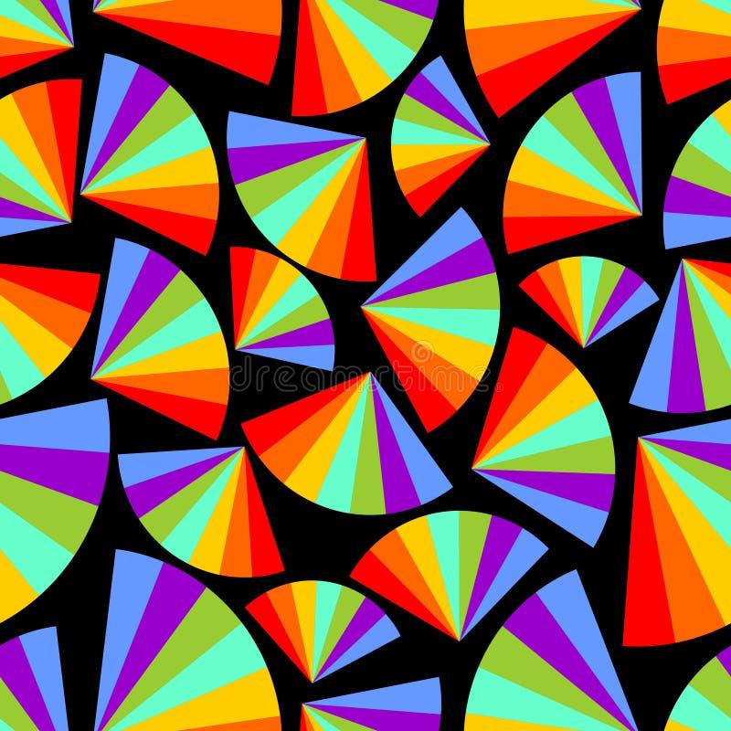 Abstrakter nahtloser Hintergrund mit Regenbogen lockert im dunklen Bereich auf lizenzfreie abbildung