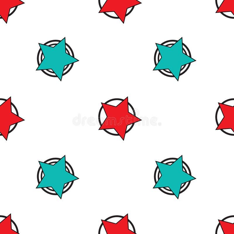 Abstrakter nahtloser Vektormuster-Hintergrundentwurf mit Sternen und Kreisen um rote Aquaquerstation der bunten lustigen netten K vektor abbildung