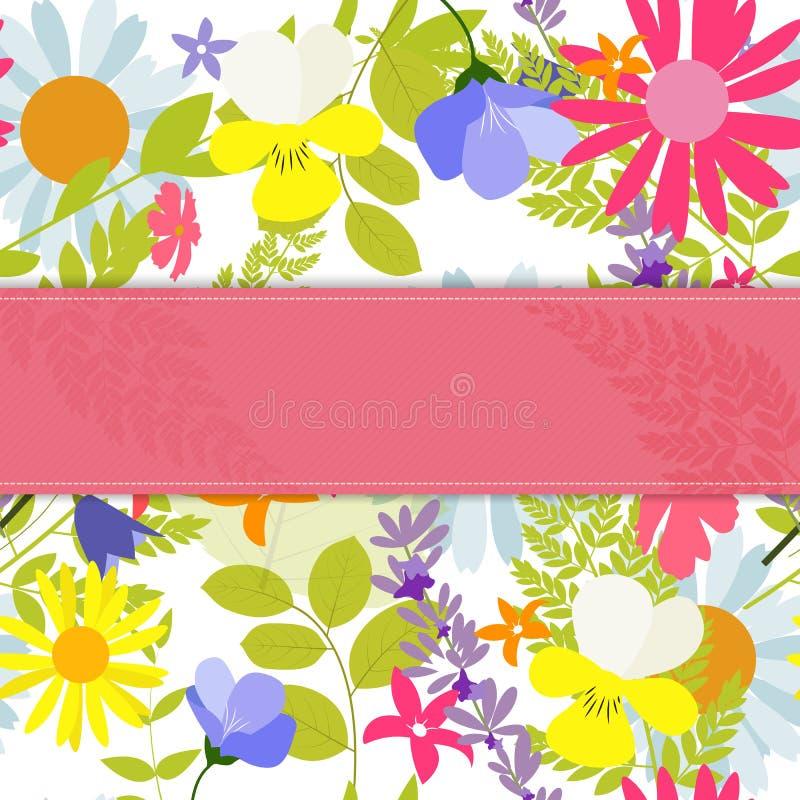 Abstrakter natürlicher Frühlings-Hintergrund mit Blumen und Blättern Vect lizenzfreie abbildung