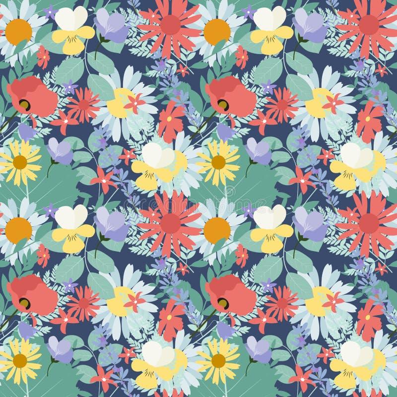 Abstrakter natürlicher Frühlings-nahtloser Muster-Hintergrund mit Blumen lizenzfreie abbildung