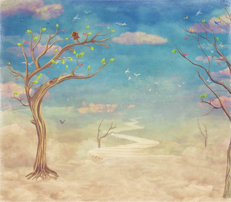 Abstrakter Naturhimmel der Weinlese mit Brücke, Bäumen und Wolkenhintergrund vektor abbildung