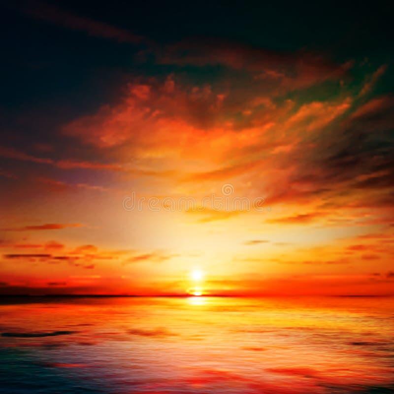 Abstrakter Naturhintergrund mit Seesonnenuntergang und -wolken vektor abbildung