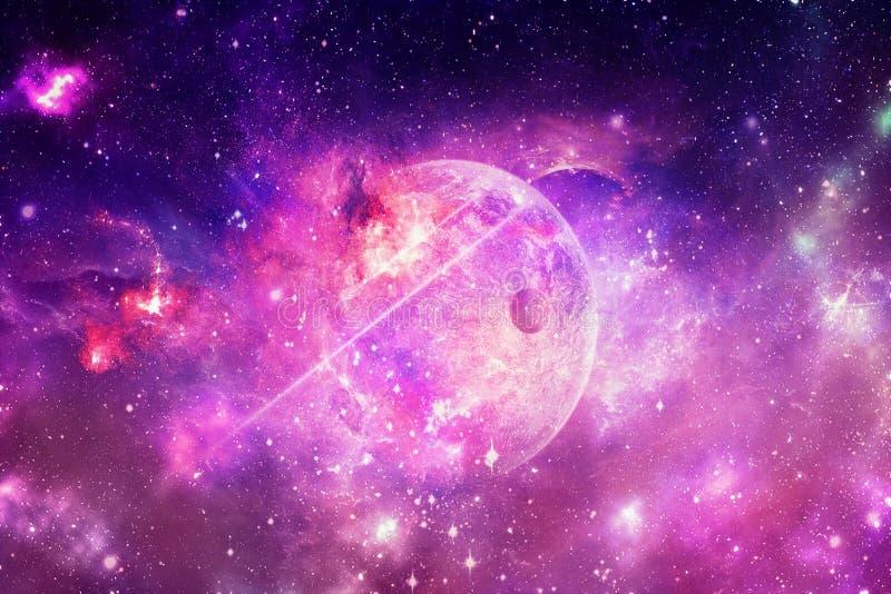 Abstrakter Nebelfleck und Galaxien in einem Raum-Hintergrund stockbild