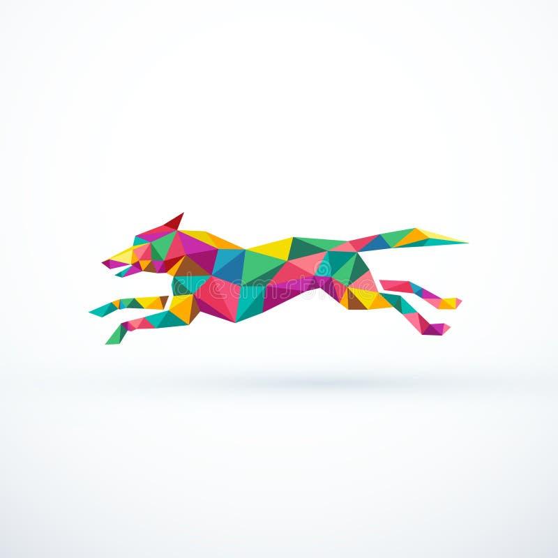 Abstrakter niedriger laufender Polyhund Auch im corel abgehobenen Betrag vektor abbildung