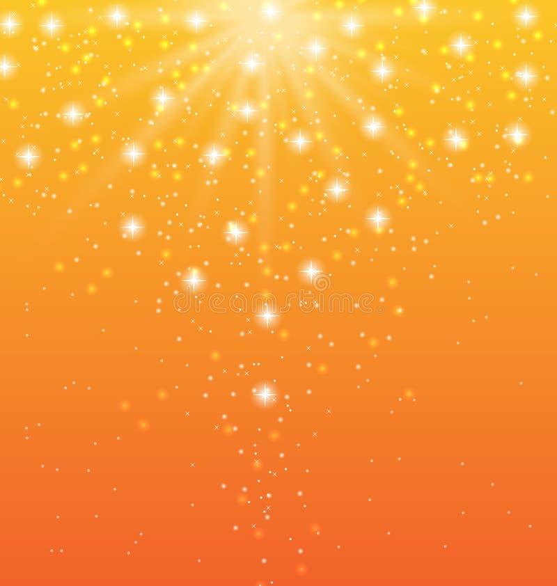 Abstrakter orange Hintergrund mit Sonnenstrahlen und glänzenden Sternen lizenzfreie abbildung