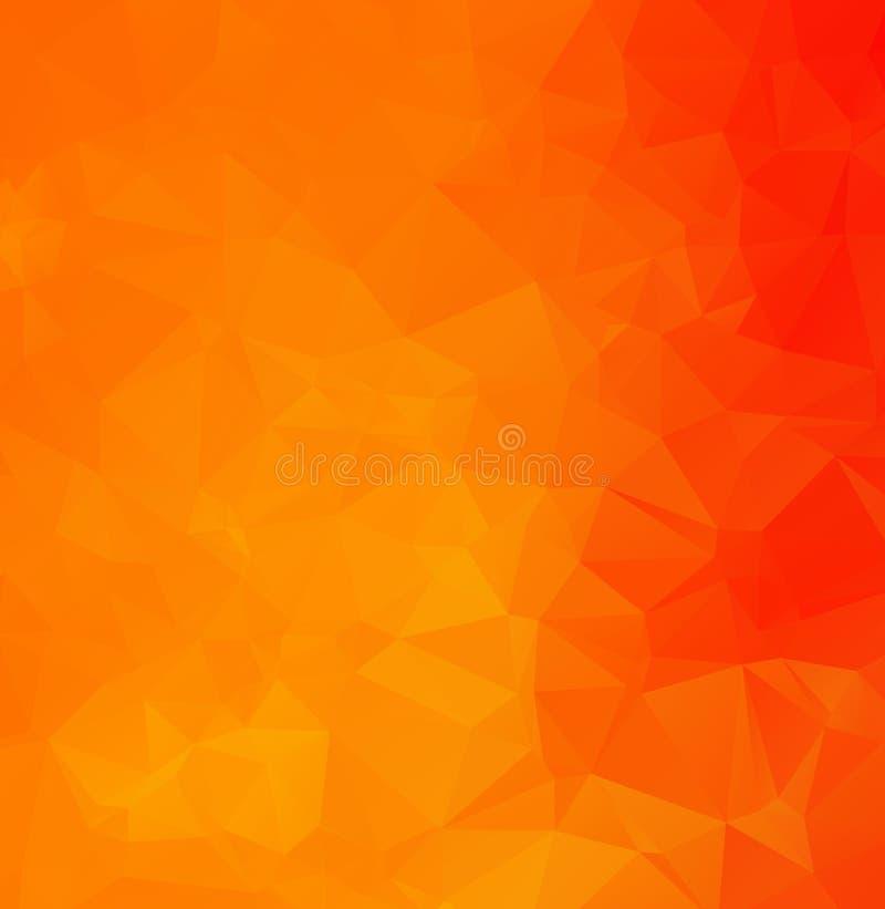 Abstrakter orange polygonaler Mosaik-Hintergrund, kreative Design-Schablonen Niedriger Polykristallhintergrund des abstrakten dun lizenzfreie abbildung