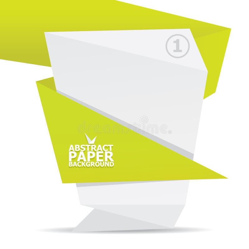 Abstrakter Origamihintergrund des weißen und Grünbuches. stock abbildung