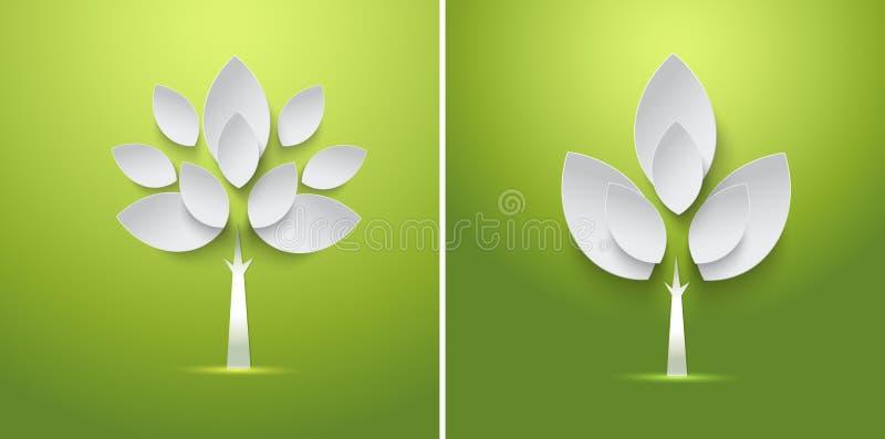 Abstrakter Papierfrühlingsbaum mit Blattkarte lizenzfreie abbildung