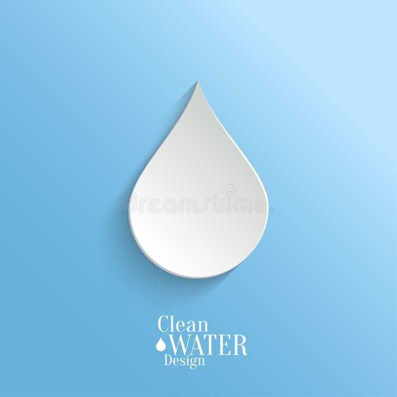 Abstrakter Papierwasser-Tropfen auf blauem Hintergrund. lizenzfreie abbildung