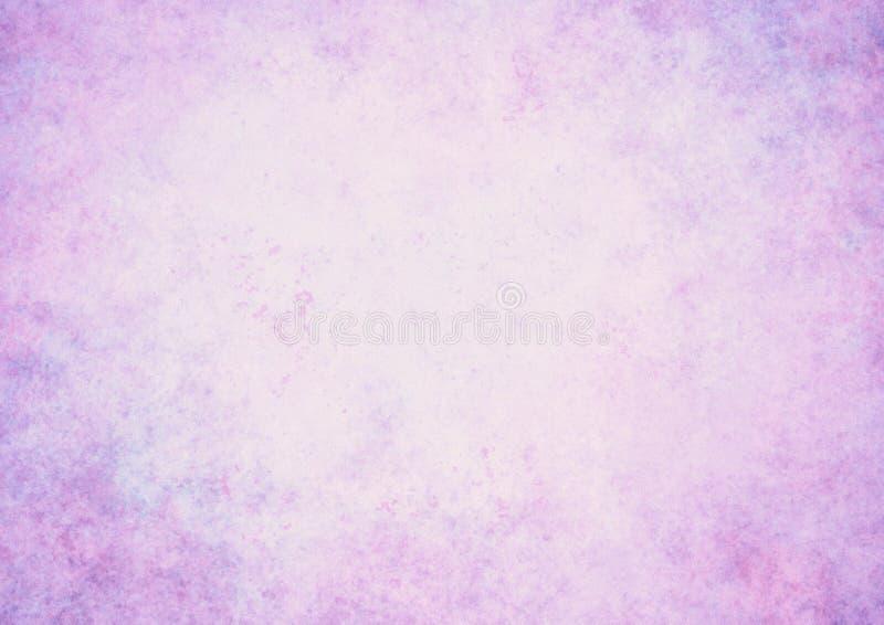 Abstrakter pastellfarbener, violetter Hintergrund mit weißem Mittelrahmen, weicher, verblasster Schwamm, Vintage Grunge-Hintergru stockbild