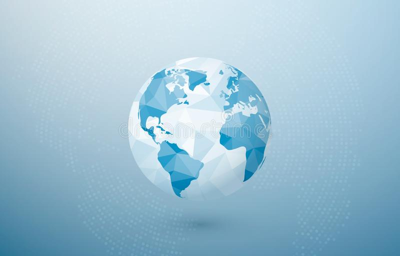 Abstrakter polygonaler Planet Konzept der globalen Kommunikation Kreatives Erdkonzept Vektorillustration auf blauem Hintergrund lizenzfreie abbildung