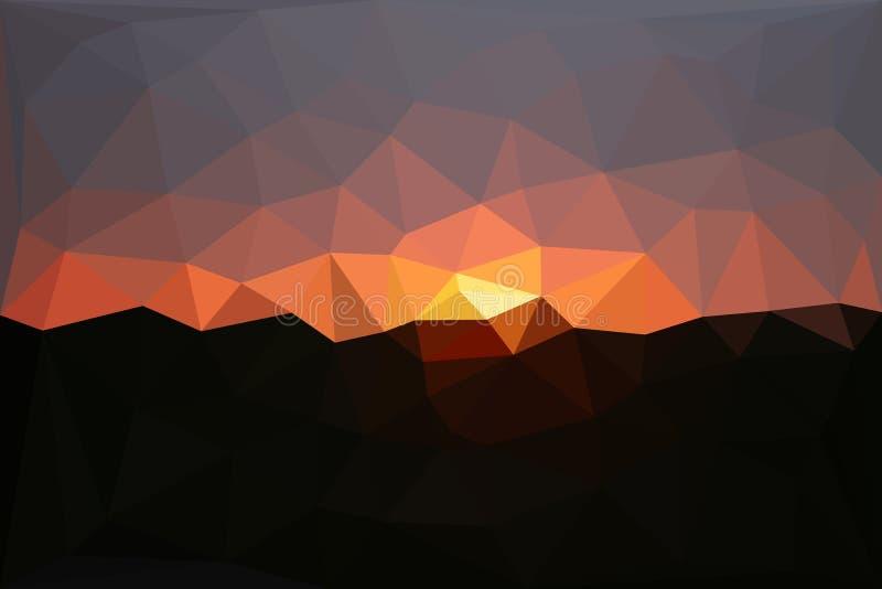 Abstrakter polygonaler Sonnenunterganghintergrund lizenzfreie abbildung