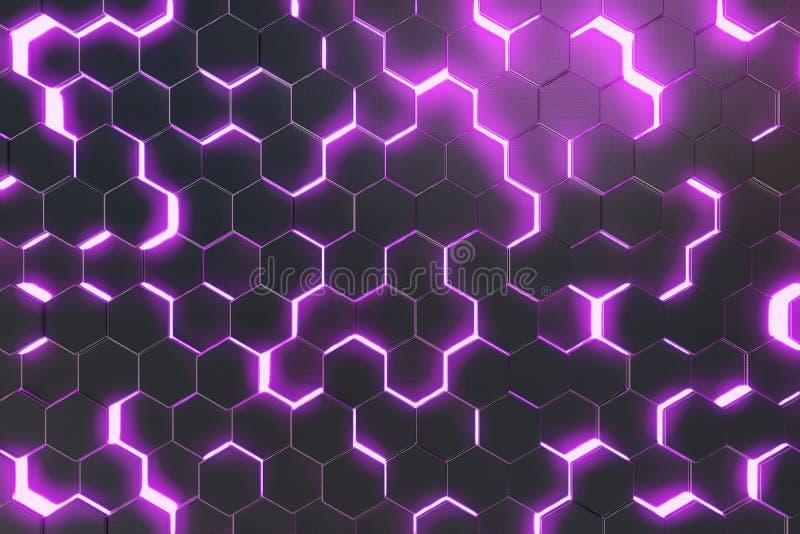 Abstrakter purpurroter Hintergrund der futuristischen Oberfläche mit Hexagonen Wiedergabe 3d vektor abbildung