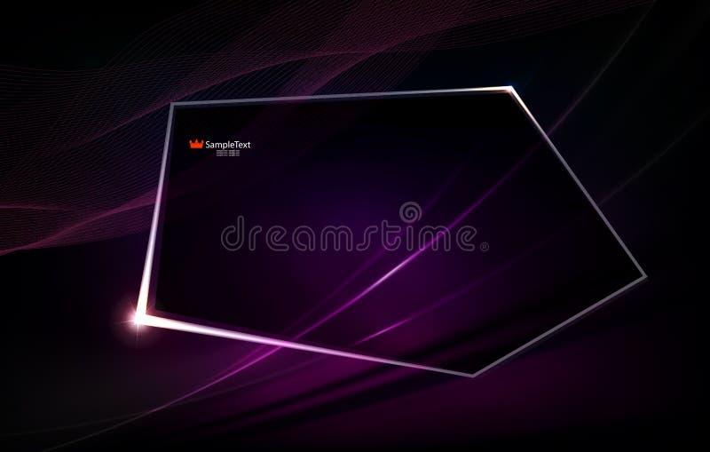 Abstrakter purpurroter Hintergrund wie Angelegenheit mit polygonalem glänzendem Rahmen stock abbildung