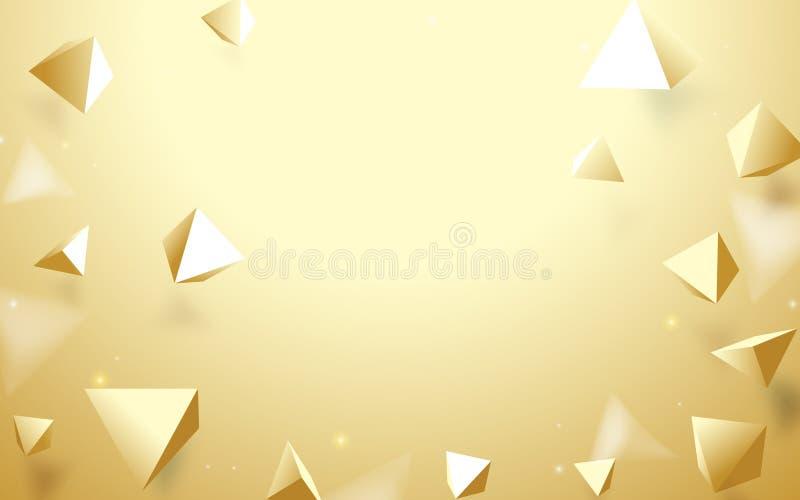 Abstrakter Pyramidenhintergrund des Gold 3d Auch im corel abgehobenen Betrag lizenzfreie abbildung
