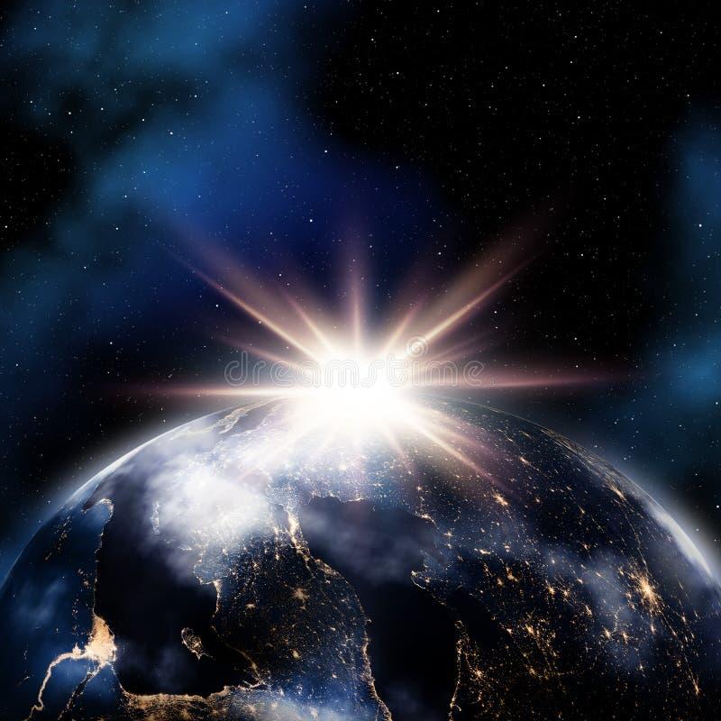 Abstrakter Raumhintergrund mit Nacht beleuchtet auf Erde stock abbildung